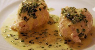 Seezungen-Lachs-Röllchen in Champagnersauce