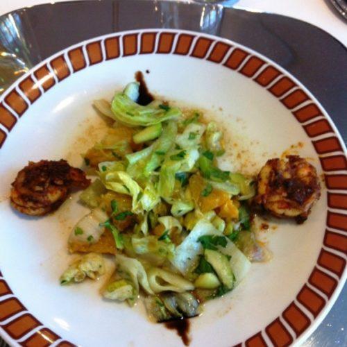 Orangen - Gurken - Salat mit Garnelen
